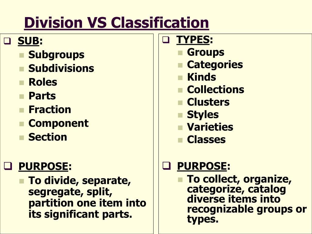 Classification division essay