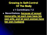 growing in self control of the body3
