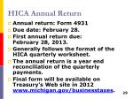 hica annual return