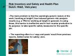 risk inventory and safety and health plan dutch ri e v g plan