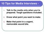 10 tips for media interviews