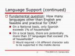 language support continued
