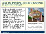 value of advertising to promote awareness or behavior change1