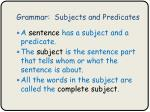 grammar subjects and predicates1