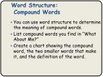 word structure compound words