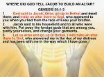 where did god tell jacob to build an altar