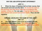 why did job offer burnt offerings