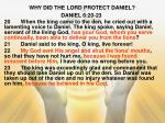 why did the lord protect daniel