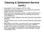 clearing settlement service cont