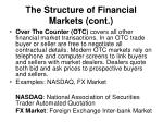 the structure of financial markets cont