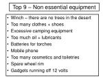 top 9 non essential equipment