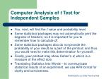 computer analysis of t test for independent samples2