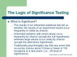 the logic of significance testing1