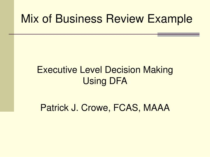 mix of business review example n.