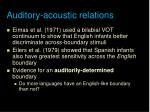 auditory acoustic relations