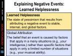explaining negative events learned helplessness2