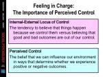 feeling in charge the importance of perceived control
