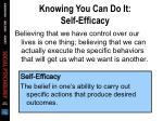 knowing you can do it self efficacy
