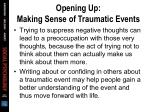 opening up making sense of traumatic events1