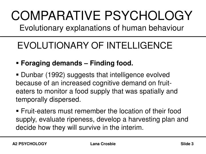 Comparative psychology evolutionary explanations of human behaviour3