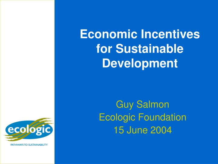 economic incentives for sustainable development n.