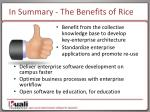 in summary the benefits of rice