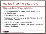 rice roadmap release cycles