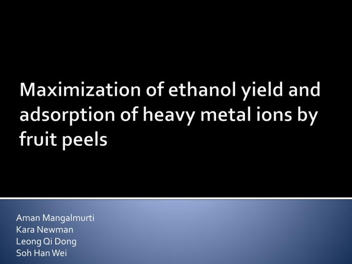 adsorption of heavy metals Adsorbent for the removal of heavy metals from aqueous solutions (pb 2+, cd 2+, hg and ni ) the particle diameters the particle diameters and the morphology of the prepared coal were investigated.