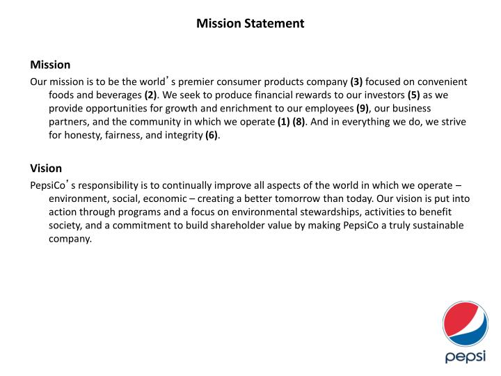 pepsi company mission statement