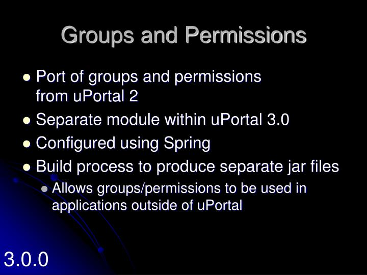 Groups and Permissions