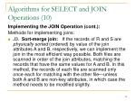 algorithms for select and join operations 10