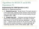 algorithms for select and join operations 9
