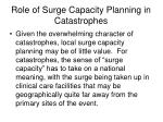 role of surge capacity planning in catastrophes