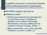 legislative advocacy is a necessary function of the professional and its organizations