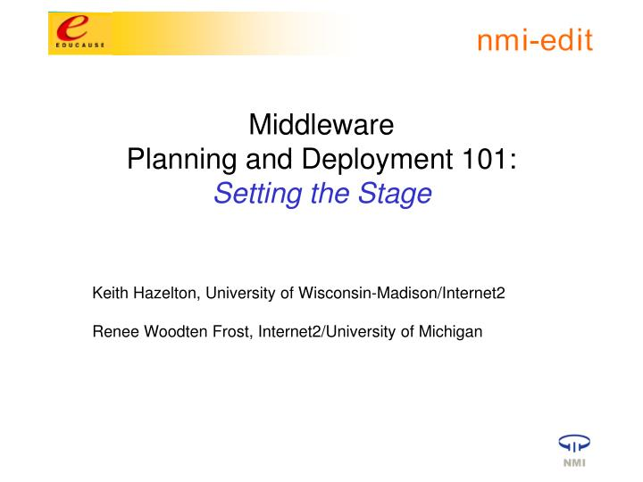 middleware planning and deployment 101 setting the stage n.