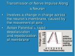 transmission of nerve impulse along a neuron