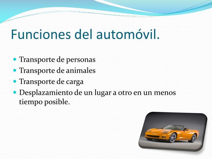 Funciones del automóvil.