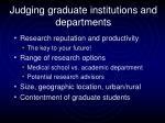 judging graduate institutions and departments
