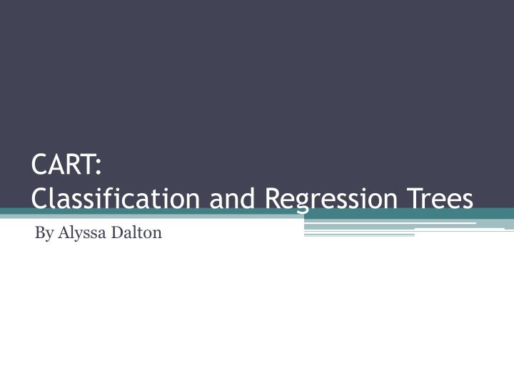 cart classification and regression trees n.