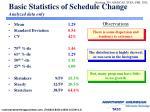 basic statistics of schedule change analyzed data only
