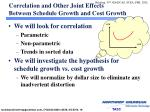 correlation and other joint effects between schedule growth and cost growth