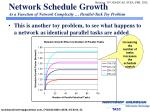 network schedule growth as a function of network complexity parallel task toy problem