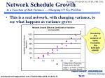 network schedule growth as a function of task variance changing cv toy problem