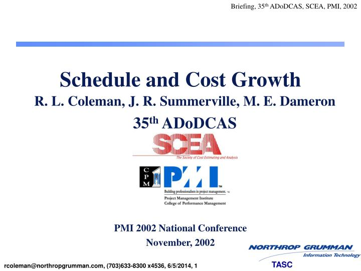 schedule and cost growth n.