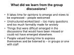 what did we learn from the group discussions
