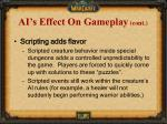 ai s effect on gameplay cont1