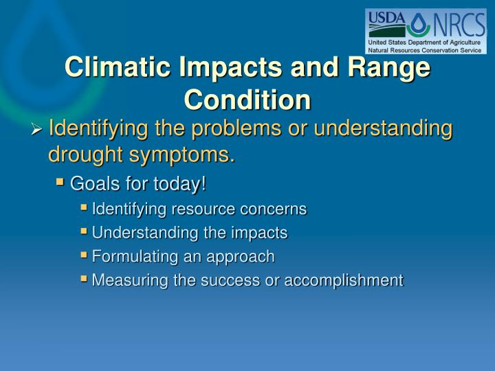 Climatic impacts and range condition1