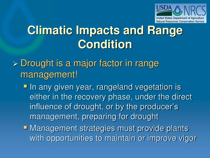 Climatic Impacts and Range Condition