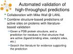 automated validation of high throughput predictions