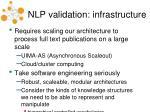 nlp validation infrastructure